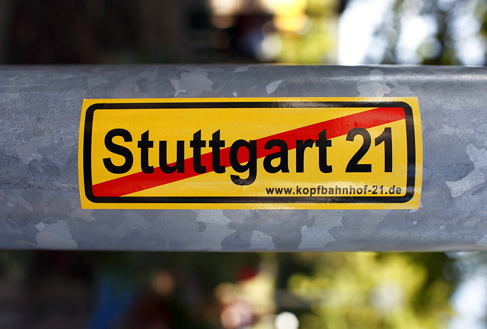Stuttgart 21 protest sticker on a lamp-post, Stuttgart, Baden-Wuerttemberg, Germany, Europe