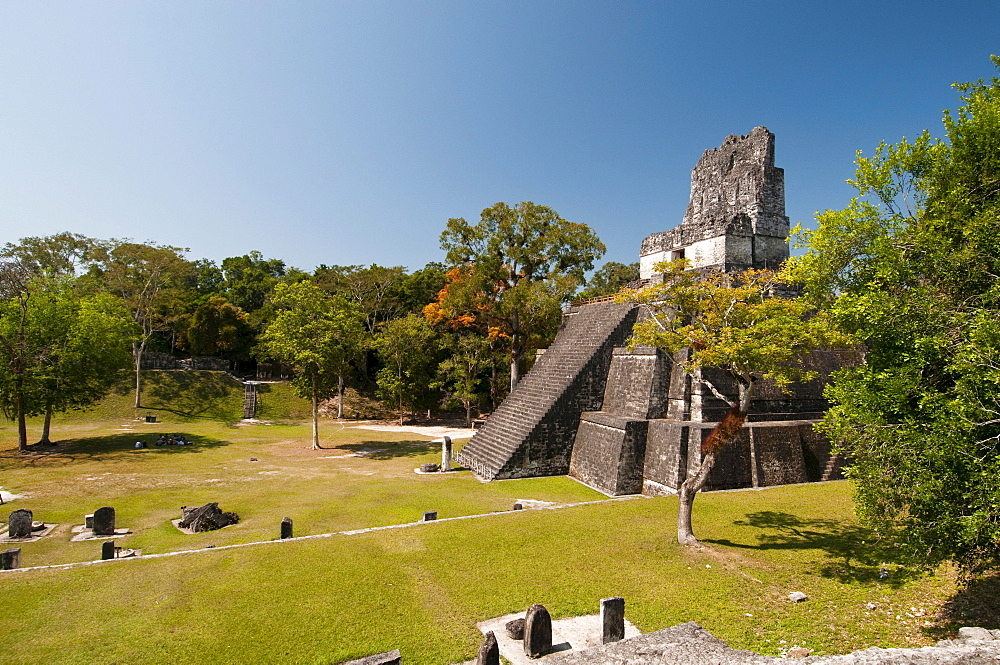 Temple II and Grand Plaza, Tikal, archaeological site of the Maya civilization, Guatemala, Central America