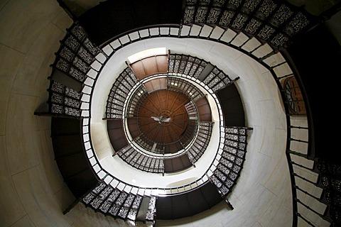 Spiral Staircase, Jagdschloss Granitz hunting lodge, Ruegen, Mecklenburg-Western Pomerania, Germany, Europe