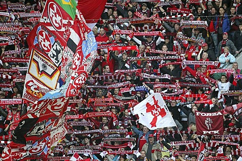Fans of the 1. FC Kaiserslautern celebrating their 3:0 victory, Bundesliga, Federal League Football, 1.FC Kaiserslautern versus Borussia Moenchengladbach, Fritz-Walter-Stadion, Kaiserslautern, Rhineland-Palatinate, Germany, Europe