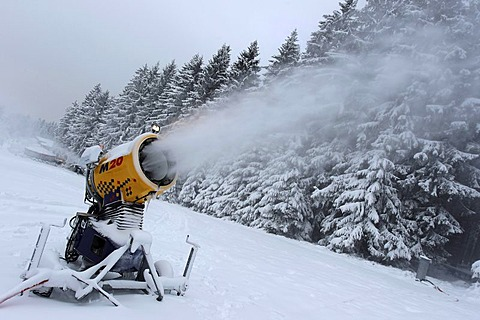 Snow cannon on Erbeskopf mountain near Morbach in the Hunsrueck mountain range, Rhineland-Palatinate, Germany, Europe