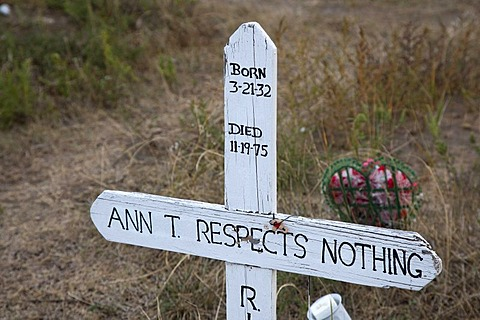 Cemetery on the site of the 1890 Wounded Knee battlefield, on the Pine Ridge Reservation, Wounded Knee, South Dakota, USA
