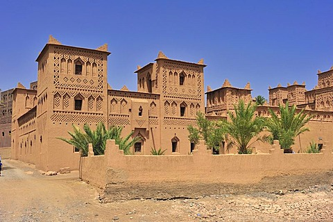 Partial view of the restored Kasbah Amerhidil, residential castle, adobe castle of the Berbers, Road of Kasbahs, Dades Gorges, Morocco, Africa