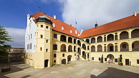 Courtyard of Burg Trausnitz Castle, Landshut, Lower Bavaria, Bavaria, Germany, Europe