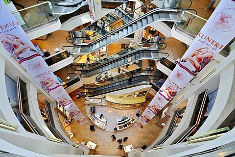 Escalators in a department store, Munich, Bavaria, Germany, Europe - 832-136659