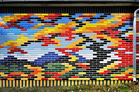 Multicoloured brick wall, Munich, Bavaria, Germany, Europe