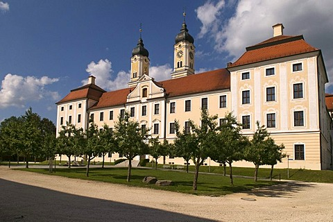 Roggenburg Abbey, a Premonstratensian canonry with the Roman Catholic parish church of the Ascension of the Virgin Mary, Swabia, Bavaria, Germany, Europe