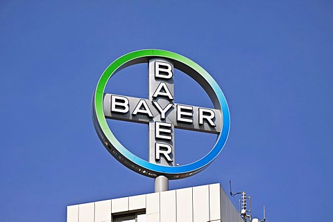 Logo of the Bayer AG, a German chemical and pharmaceutical company