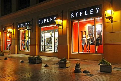 Illuminated display window at night, Ripley department store, Chilean department store chain, La Serena, Norte Chico, Northern Chile, Chile, South America