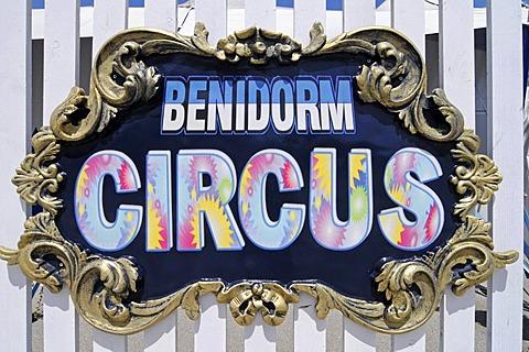 Circus, Benidorm Palace, venue, sign, Benidorm, Costa Blanca, Alicante, Spain, Europe
