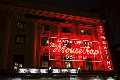 "Agatha Christie's play ""The Mousetrap"", St. Martin's Theatre at night, London, England, United Kingdom, Europe"