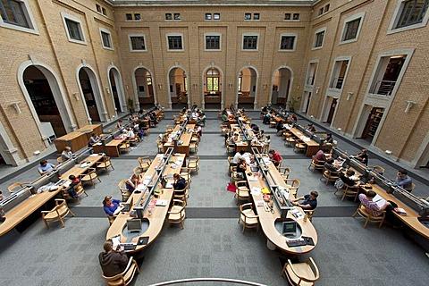Reading room of the Bibliotheca Albertina, university library of the Unversitaet Leipzig university, Leipzig, Saxony, Germany, Europe