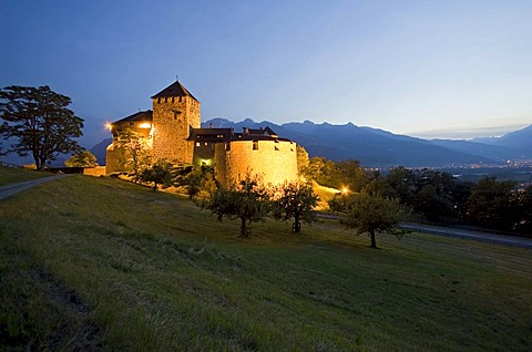 Vaduz Castle at dusk, residence of the dynasty and landmark of the capital Vaduz, Principality of Liechtenstein, Europe