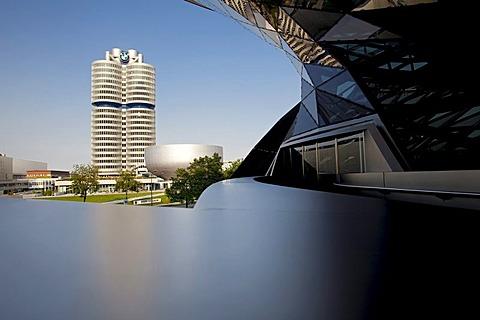 Headquarters of Bayerische Motoren Werke AG, BMW, at front the modern convention building and the BMW Welt Museum, BMW world, Munich, Bavaria, Germany, Europe