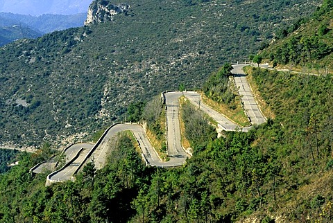 Hairpin turns, road in Alpes Maritimes, France, Europe