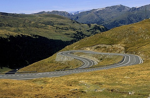 Hairpin turn, road in Pyrenees, France, Europe