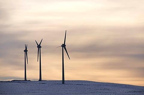 Wind turbines, Region Auvergne, France, Europe