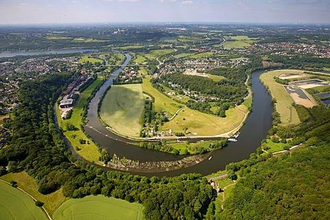 Aerial view, Lohmann company, loop of the Ruhr river, Herbede, Ruhr river, Ruhrtal valley, Witten, Ruhrgebiet area, North Rhine-Westphalia, Germany, Europe