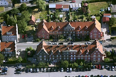 Aerial view, rental apartments, apartment blocks, Hohenlimburg district, Hagen, Ruhrgebiet area, North Rhine-Westphalia, Germany, Europe