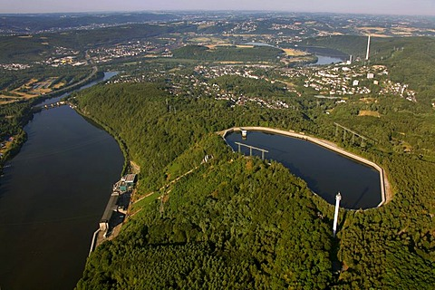 Aerial view, Koepchenwerk pumped-storage plant with reservoirs owned by RWE, a German electric power company, Ruhr river, Ruhrtal valley, Herdecke, Ruhrgebiet area, North Rhine-Westphalia, Germany, Europe