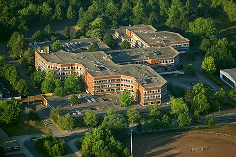 Aerial view, Kamen comprehensive school, Ruhrgebiet area, North Rhine-Westphalia, Germany, Europe