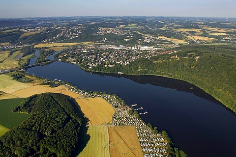 Aerial view, Harkortsee lake, reservoir, Ruhrtal valley, Wetter on the Ruhr river, Ruhrgebiet area, North Rhine-Westphalia, Germany, Europe