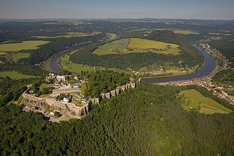Aerial view, Koenigstein Fortress, Koenigstein, Elbtal valley, Elbe Sandstone Mountains, Saxon Switzerland district, Saxony, Germany, Europe