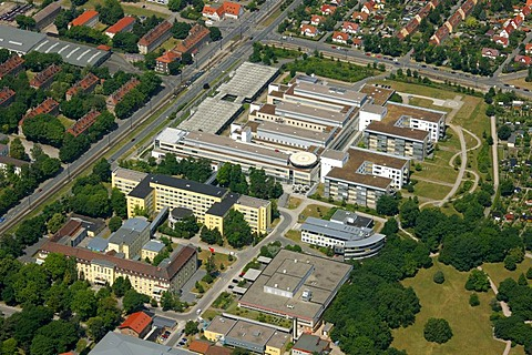 Aerial view, University of Erfurt, Erfurt, Thuringia, Germany, Europe