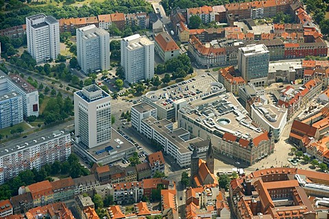 Aerial view, Anger 1 shopping centre, city centre, Erfurt, Thuringia, Germany, Europe