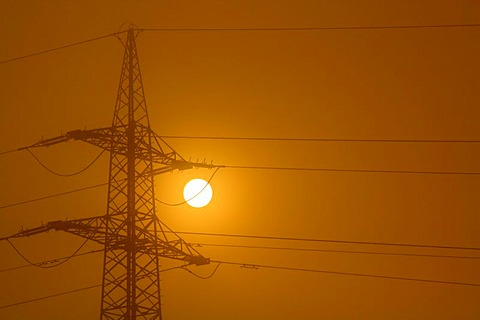 Electricity pylon at dawn