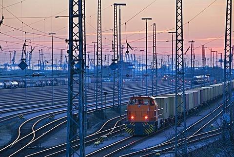 The port railway in Hamburg, Germany, Europe