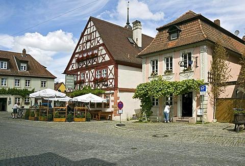 Buildings on the Karlsplatz, Prichsenstadt, Lower Franconia, Bavaria, Germany, Europe