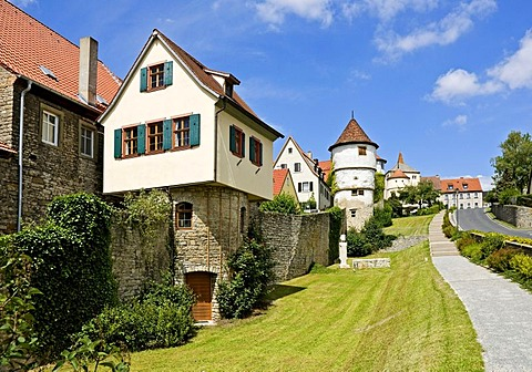Towers on the town wall in Dettelbach, Lower Franconia, Bavaria, Germany, Europe