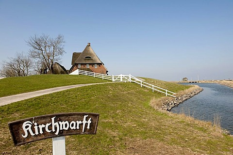 Kirchwarft dwelling mound with the thatched church and the pastorate on hallig Hooge, North Sea, Schleswig-Holstein Wadden Sea National Park, UNESCO World Natural Heritage Site, Northern Friesland, Northern Germany, Europe