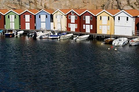 Wooden huts in a row, Smoegen, Bohuslaen, Sweden, Scandinavia, Europe