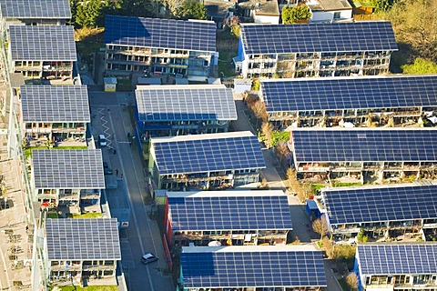 Aerial view of the roofs of the solar village, Vauban-Viertel quarter, Freiburg, Baden-Wuerttemberg, Germany, Europe