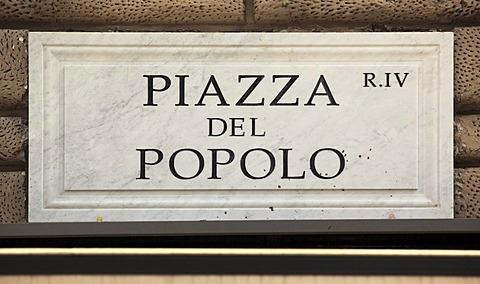 Street sign, Piazza del Popolo, Rome, Italy, Europe