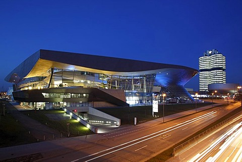 BMW Welt, BMW Museum and BMW-Vierzylinder building, Headquarters, Munich, Bavaria, Germany, Europe