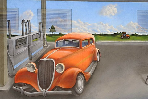 Mural painting showing a gas station