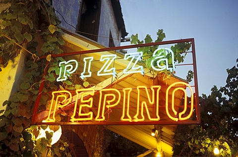 Neon sign, Pepino Pizza, pizzeria, Venice, Italy, Europe