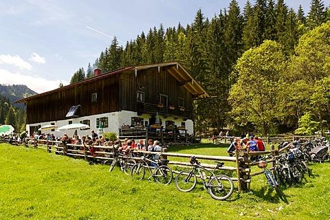 Langerbaueralm mountain hut at the Roethelmoosalm near Ruhpolding, Chiemgau, Upper Bavaria, Bavaria, Germany, Europe