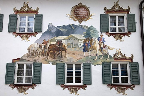 """Lueftlmalerei"", traditional mural art, Alte Post Hotel, Oberammergau, Upper Bavaria, Bavaria, Germany, Europe"