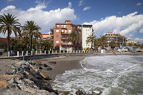 Palm trees and hotels on the coast, Albenga, Riviera, Liguria, Italy, Europe