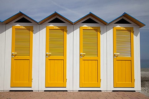 Changing cabins on the beach, Noli, Italian Riviera, Liguria, Italy, Europe