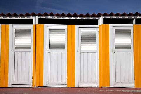 Changing cabins on the beach, Pietra Ligure, Italian Riviera, Liguria, Italy, Europe