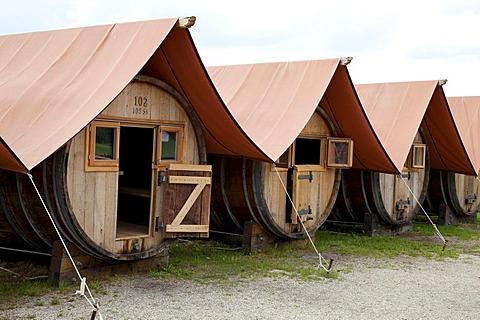 Wooden barrels converted to huts, Schlepzig, Spreewald, Brandenburg, Germany, Europe