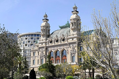 Back of the casino, Monte Carlo, Principality of Monaco, Cote d'Azur, Europe