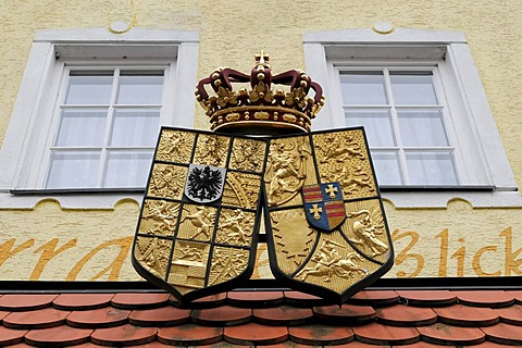 Coat of arms of the Krone Restaurant, Langenburg, Hohenlohe district, Baden-Wuerttemberg, Germany, Europe