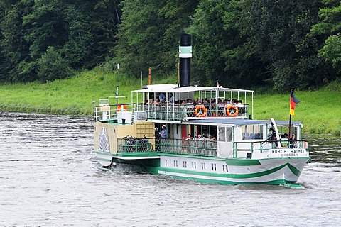 Paddle steamer PD Kurort Rathen on the Elbe River, built in 1896, Dresden, Saxony, Germany, Europe