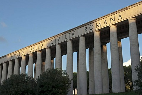 The porch on columns closing the Eastern side of Piazza Giovanni Agnelli in the EUR district, Rome, Italy, Europe